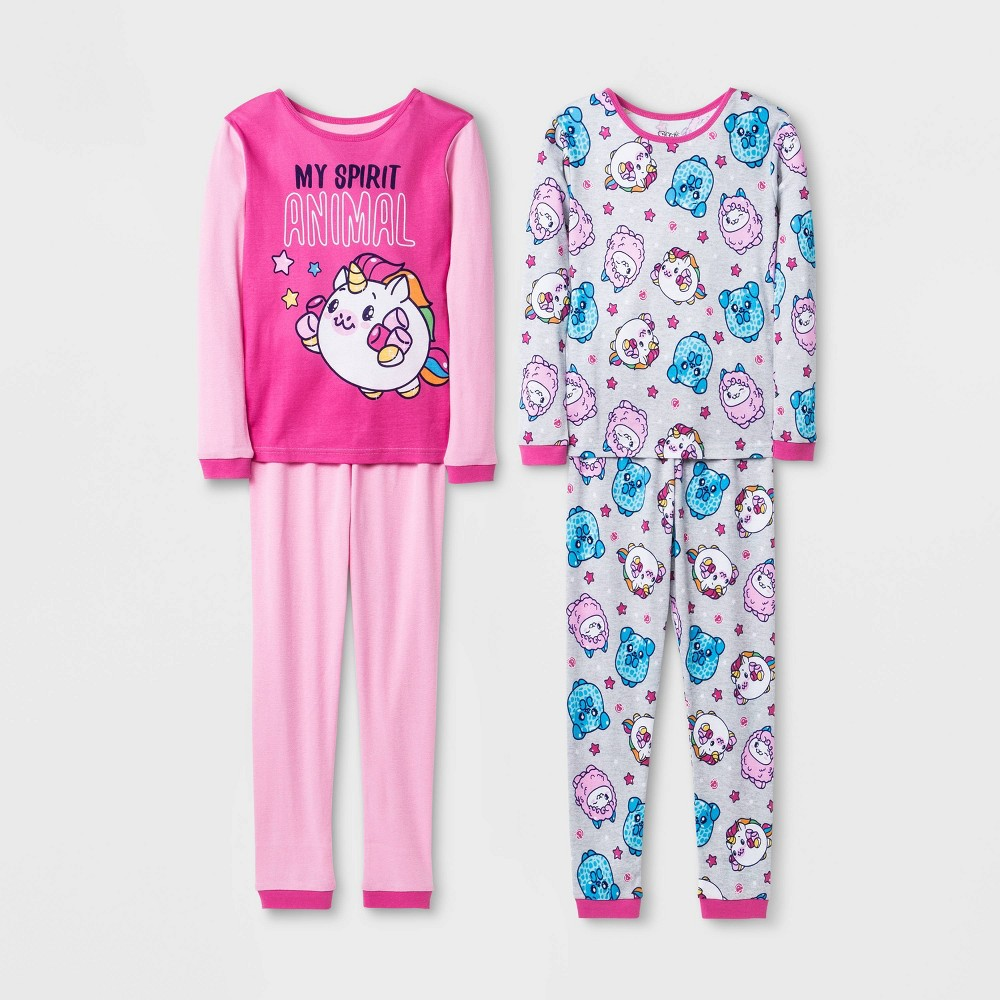 Image of Girls' Pikmi Pops 4pc Pajama Set - Pink/Blue 4, Girl's, Blue/Pink