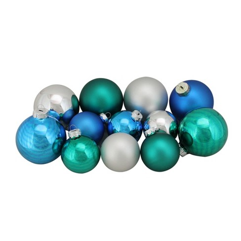 Northlight 96ct Turquoise Blue And Silver Shiny And Matte Glass Ball Christmas Ornaments 2 5 3 25
