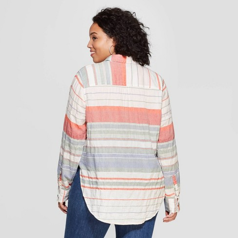 e4cc56b0adf Women s Plus Size Striped Long Sleeve V-Neck Button Front Shirt - Universal  Thread™