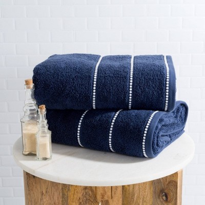 2pc Luxury Cotton Bath Towels Set Navy - Yorkshire Home