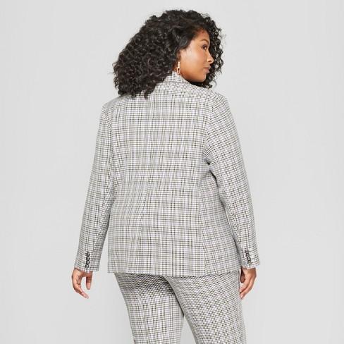 3adc79e710a4e Women's Plus Size Houndstooth Twill Blazer - Ava & Viv™ Berry : Target