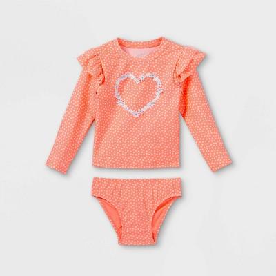 Toddler Girls' 2pc Heart Floral Ruffle Long Sleeve Rash Guard Set - Cat & Jack™ Moxie Peach