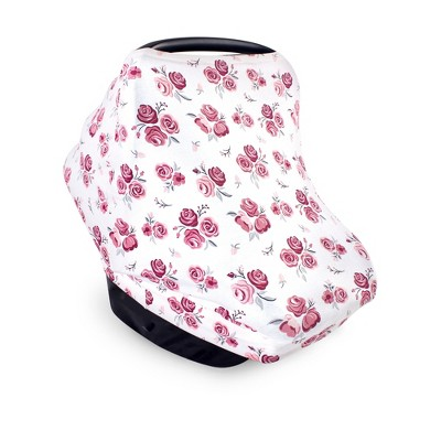 Hudson Baby Infant Girl Multi-use Car Seat Canopy, Roses, One Size