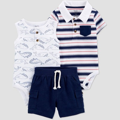 Baby Boys' 3pc Striped Whale Top & Bottom Set - Just One You® made by carter's Blue 6M