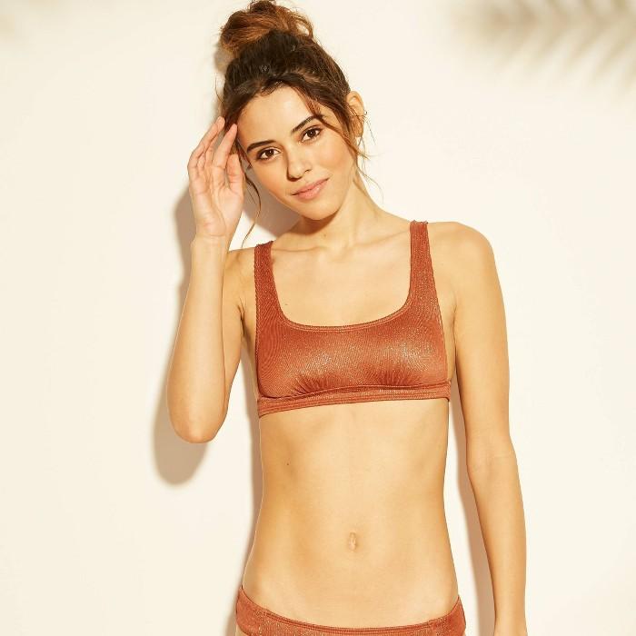 Women's Metallic Ribbed Bralette Bikini Top - Xhilaration™ Cinnamon - image 1 of 4