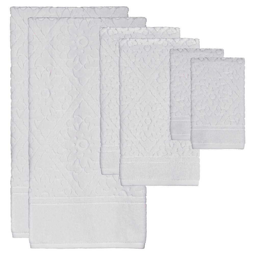 Image of Belle Bath Towel 6pc Set White - Creative Bath