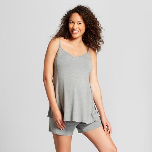 Maternity Nursing Sleepwear Cami and Shorts Pajama Set - Isabel Maternity by Ingrid & Isabel™ Medium Heather Gray - image 1 of 3