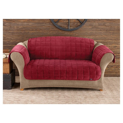 Furniture Friend Deluxe Comfort Quilted Sofa Furniture Protector Burgundy -  Sure Fit