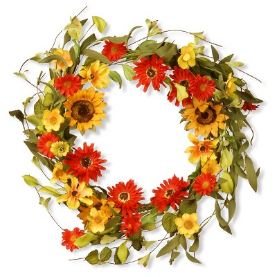 "Floral Wreath Sunflowers and Mixed Flowers - Orange/Yellow (20"")"