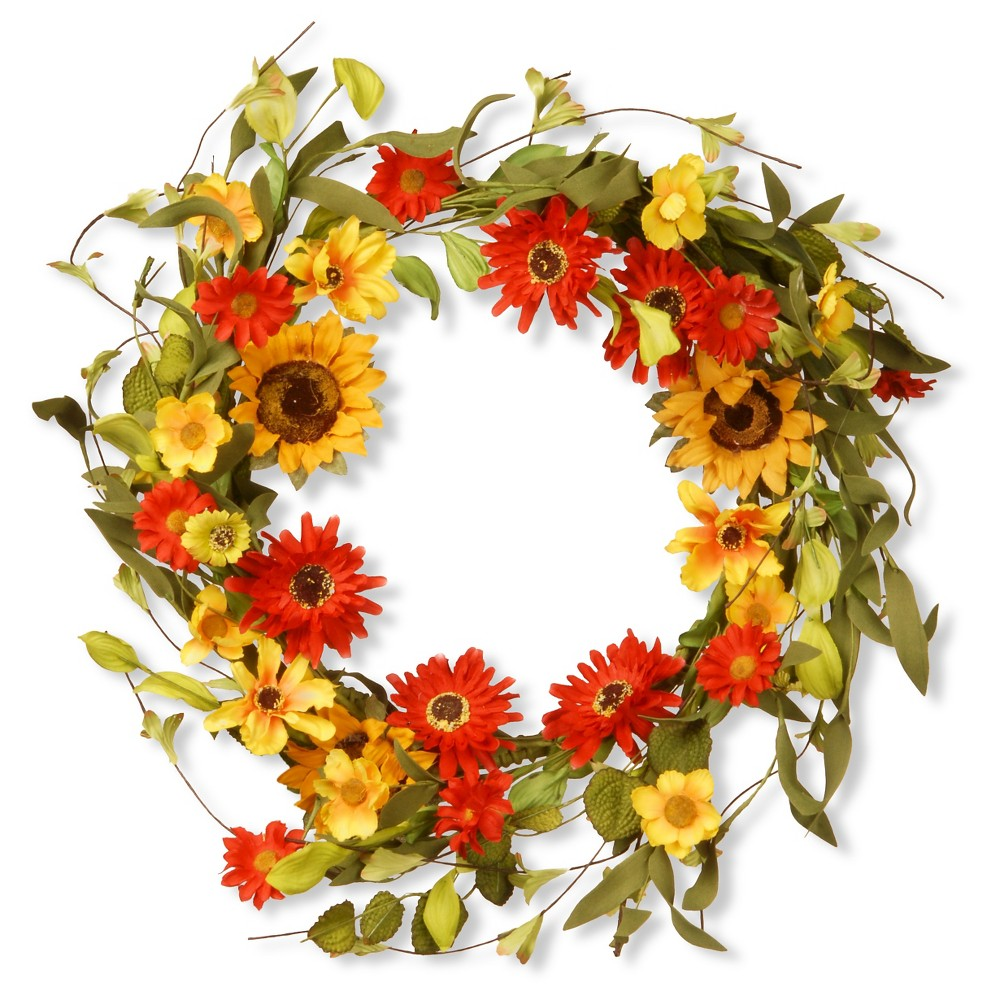 Floral Wreath Sunflowers and Mixed Flowers - Orange/Yellow (20)