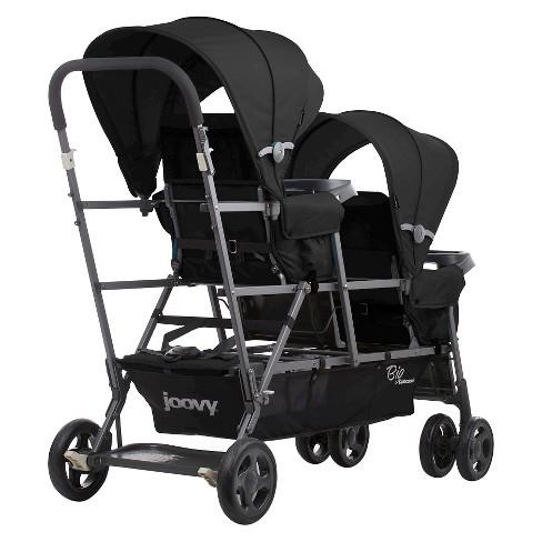 Joovy Big Caboose Graphite Stand On Tandem Triple Stroller Black