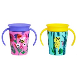 Munchkin Miracle 360 Wildlove Sippy Cup - Bee/Lemur - 2pk/6oz Each