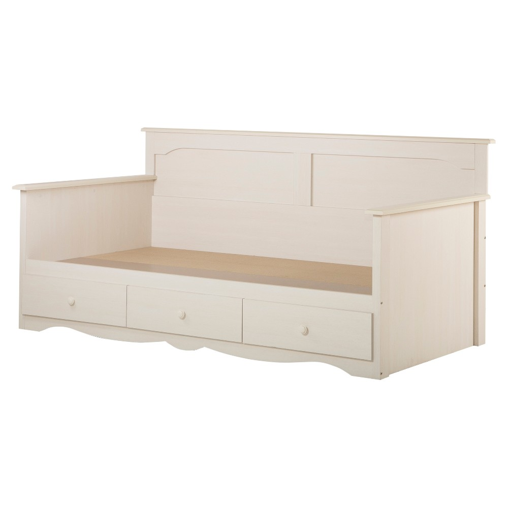 Summer Breeze Twin Daybed with Storage - 39- White Wash - South Shore, Off White