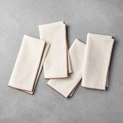 4pk Edge Stitch Napkin Set Sour Cream/Pumpkin Brown - Hearth & Hand™ with Magnolia