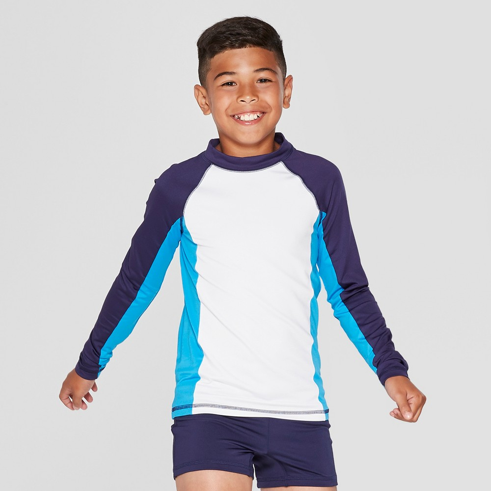 Boys' Long Sleeve Rash Guard - Cat & Jack White M