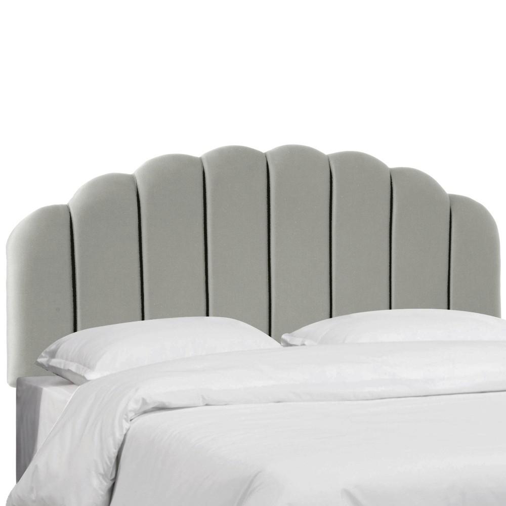 Twin Shell Headboard Silver Faux Silk Skyline Furniture