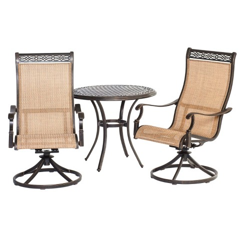 Legacy 3pc Round Metal Patio Bistro Dining Set - Tan - Hanover - image 1 of 6