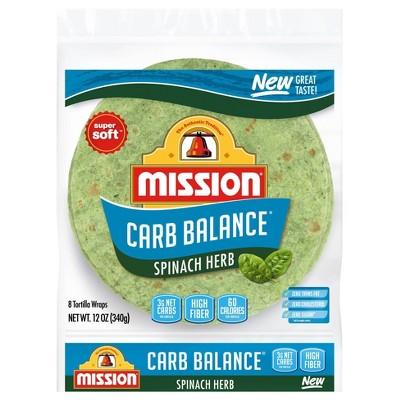Mission Carb Balance Super Soft Spinach Herb Tortillas - 12oz/8ct