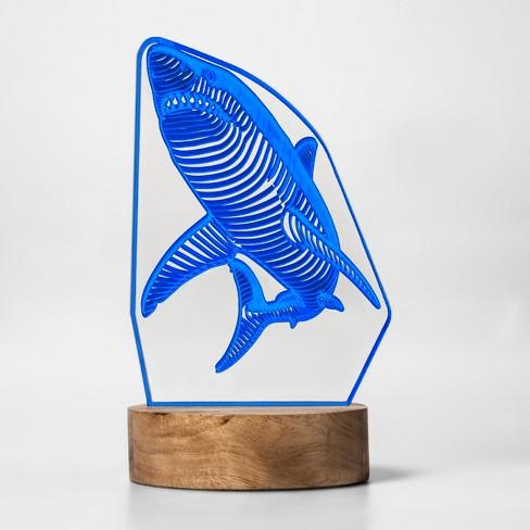 LED Edge Lit + Etching Novelty Blue Shark Light - Pillowfort™