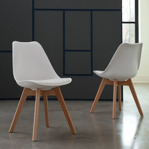 Marvelous 18 Set Of 2 Plastic Molded Mid Century Modern Dining Chairs With Vinyl Seat Cushion Solid Beechwood Legs White Ofm Pabps2019 Chair Design Images Pabps2019Com