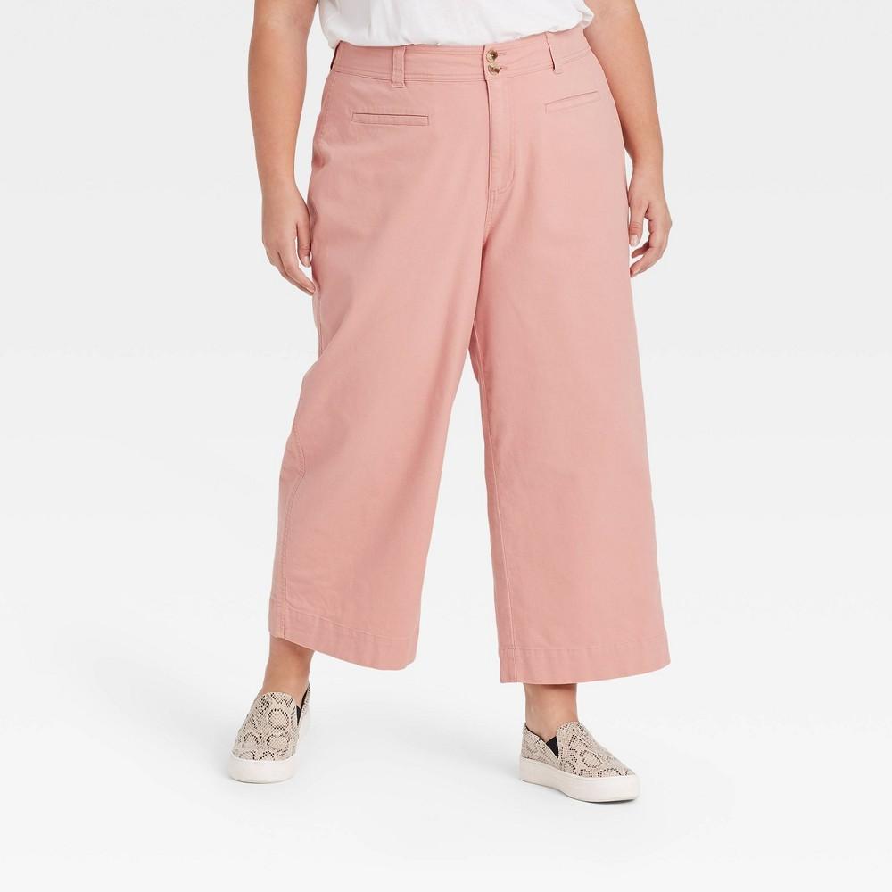 Women 39 S Plus Size Cropped Wide Leg Fashion Pants A New Day 8482 Coral 24w