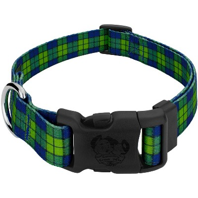 Country Brook Design® Deluxe Blue and Green Plaid Dog Collar - Made in The U.S.A.