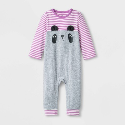 Baby Girls' Critter Romper - Cat & Jack™ Heather Gray 3-6M
