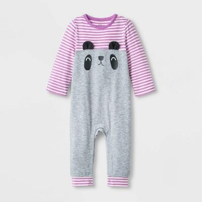 Baby Girls' Critter Romper - Cat & Jack™ Heather Gray Newborn