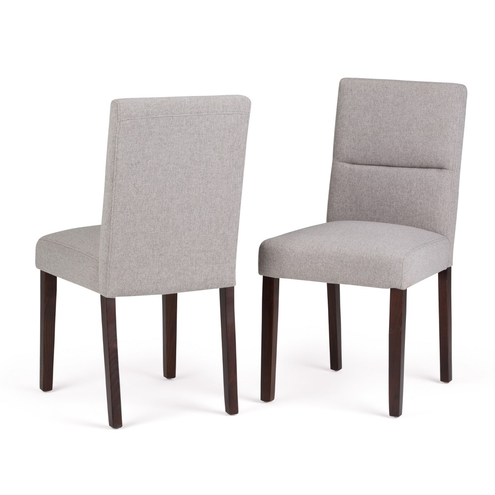 Seymour Parson Dining Chair Set of 2 Cloud Gray Linen Look Fabric - Wyndenhall, Cloudy Gray