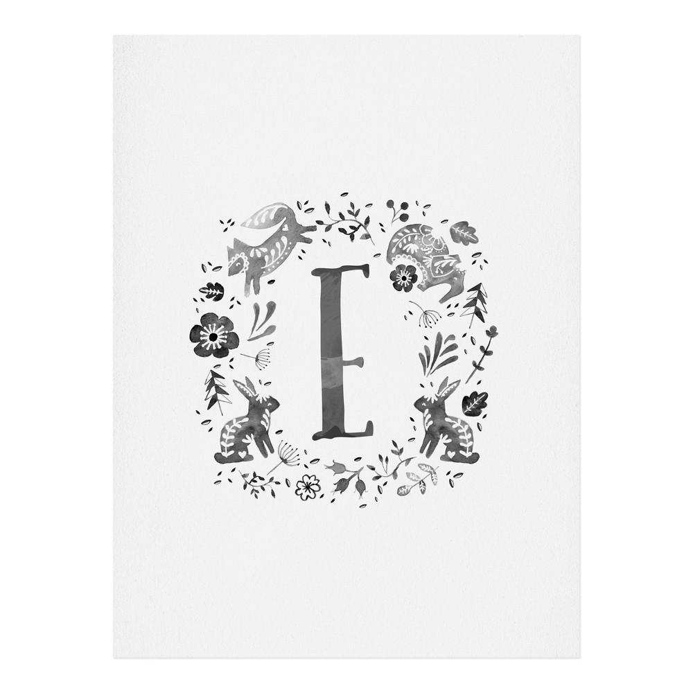 "Image of ""11""""x14"""" Wonder Forest Folky Forest Monogram Letter """"E"""" Art Print Unframed Wall Poster Gray - Deny Designs"""
