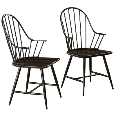 Set of 2 Milo Mixed Media Wood Top Armchairs Metal/Black - Buylateral