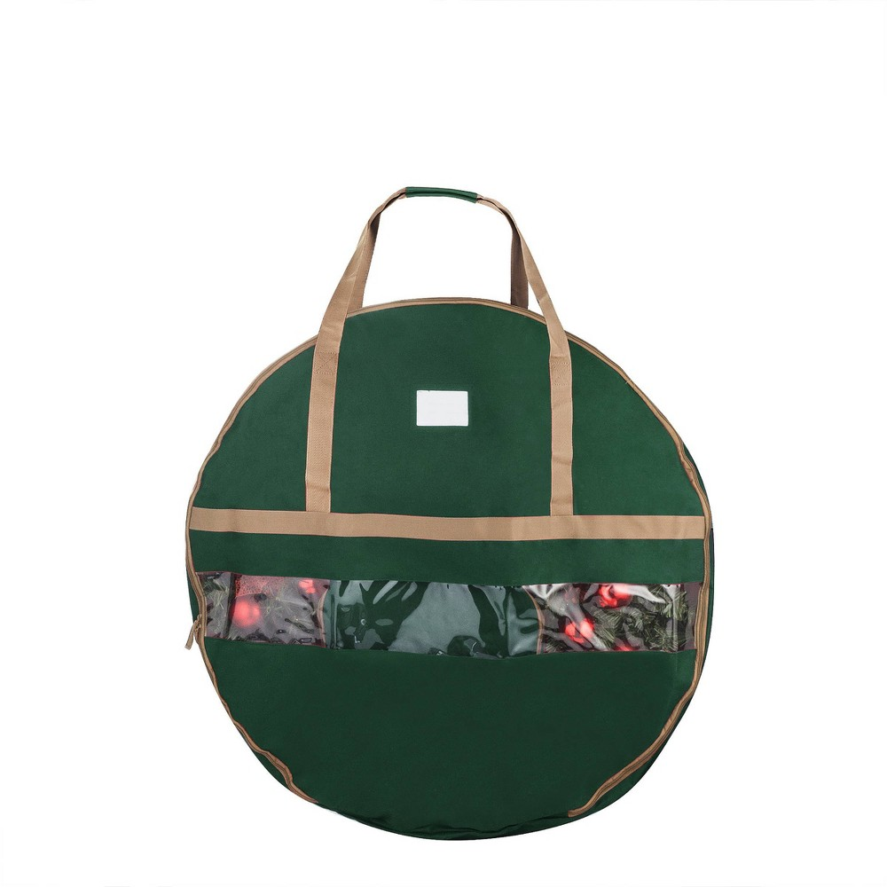 "Image of ""24"""" Ultimate Holiday Christmas Wreath Storage Bag Green - Elf Stor"""