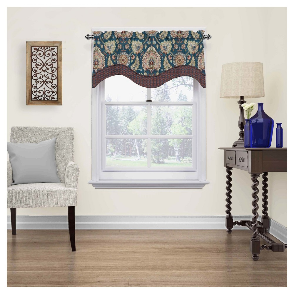 """Image of """"18""""""""x52"""""""" Clifton Hall Scalloped Floral Window Valance Gem - Waverly"""""""