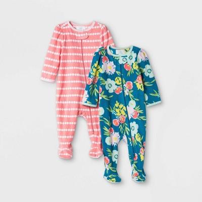 Baby Girls' Floral Print Fleece Sleep N' Play - Cloud Island™ Mint Green 0-3M
