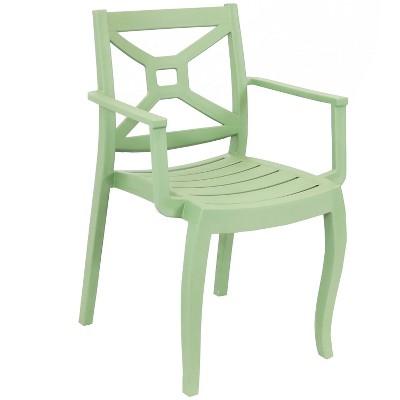 Sunnydaze Polypropylene Tristana Stackable Outdoor Patio Arm Chair, Green
