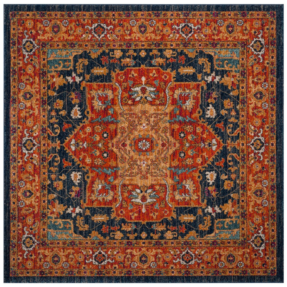 6 39 7 34 X6 39 7 34 Medallion Square Area Rug Blue Orange Safavieh