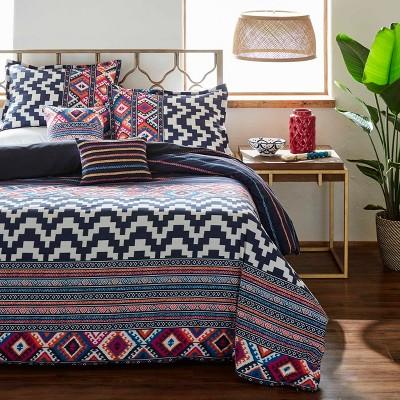 Full/Queen Kilim Stripe Duvet Cover Set Indigo - Azalea Skye