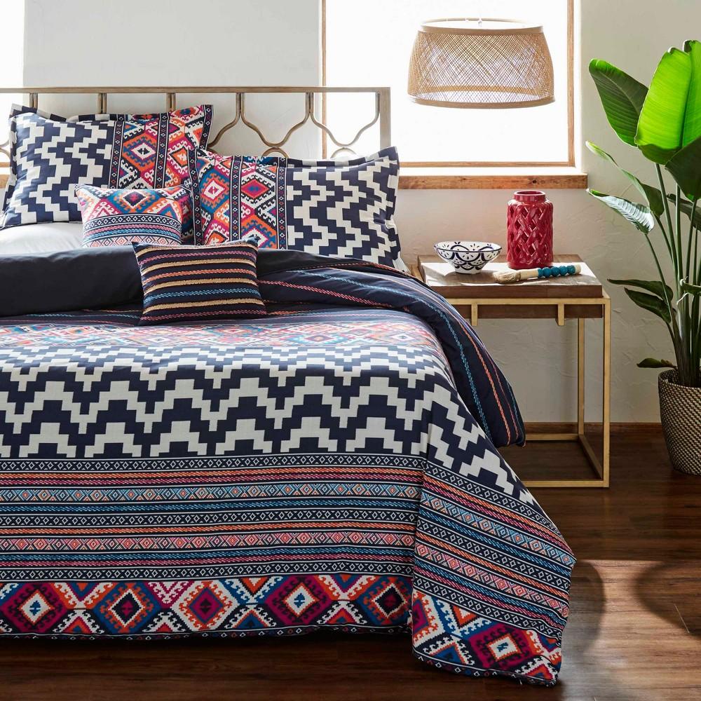 Full/Queen Kilim Stripe Duvet Cover Set Indigo - Azalea Skye, Blue
