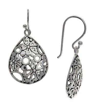 Women's Oxidized Filigree Teardrop Earrings in Sterling Silver - Gray