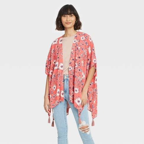 Women's Floral Print Short Sleeve Jacket - Knox Rose™ - image 1 of 3