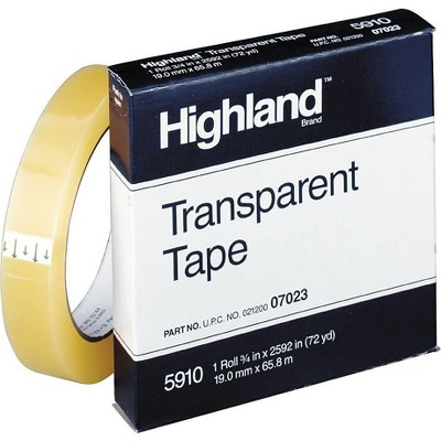 Highland Transparent Tape 5910 Refill, 3/4 x 5910-BULK