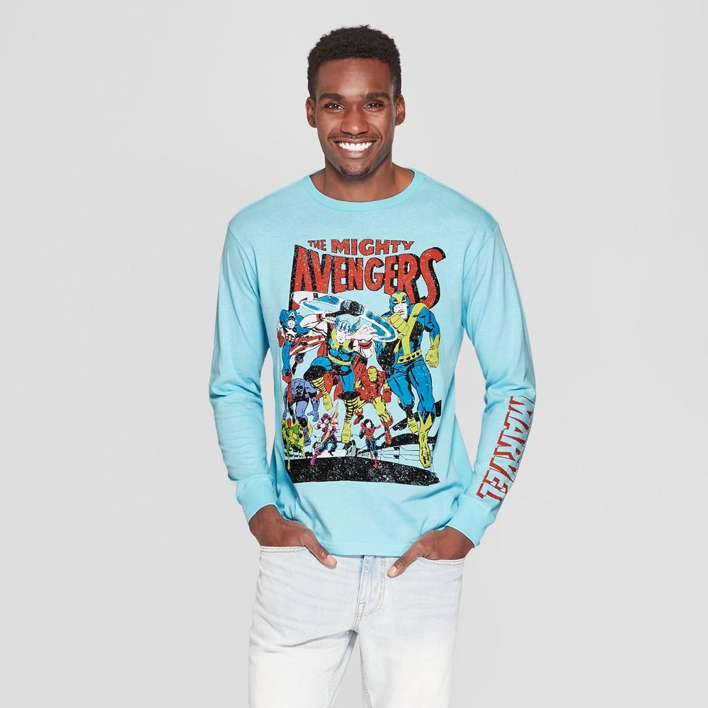 Men's Long Sleeve Marvel Avengers Crew T-Shirt - Light Blue M