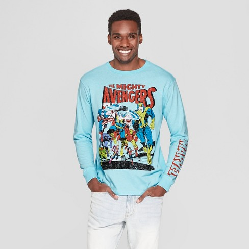 7ad524b8a40 Men s Long Sleeve Marvel Avengers Crew T-Shirt - Light Blue   Target