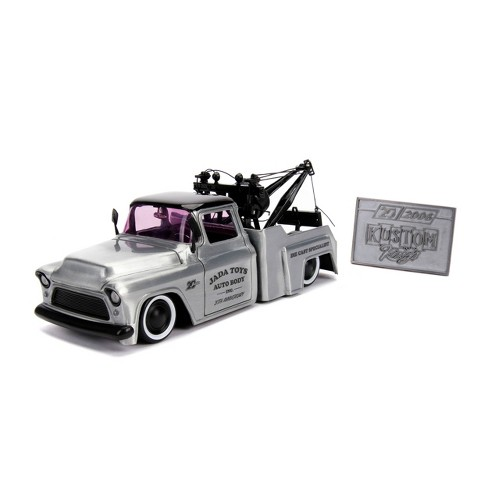 Jada Toys 20th Anniversary Kustom Kings 1955 Chevy Stepside Die-Cast Vehicle with Mosiac Die-Cast Tile 1:24 Scale Brush Raw Metal - image 1 of 4