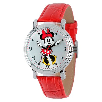 Women's Disney Minnie Mouse Shinny Vintage Articulating Watch with Alloy Case - Red