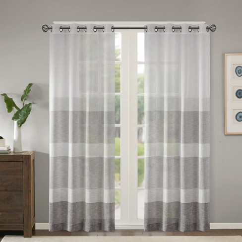 Woven Faux Linen Striped Sheer Window Panel Gray - Jacey - image 1 of 6