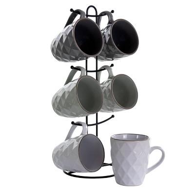 12oz 6pc Porcelain Diamond Waves Assorted Mug Set with Stand - Elama