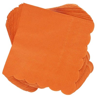 Juvale 100 Pack Orange Scalloped Edged Disposable Cocktail Paper Napkins Party Supplies