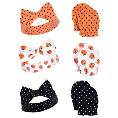 Hudson Baby Infant Girl Cotton Headband and Scratch Mitten 6pc Set, Halloween Dots, 0-6 Months