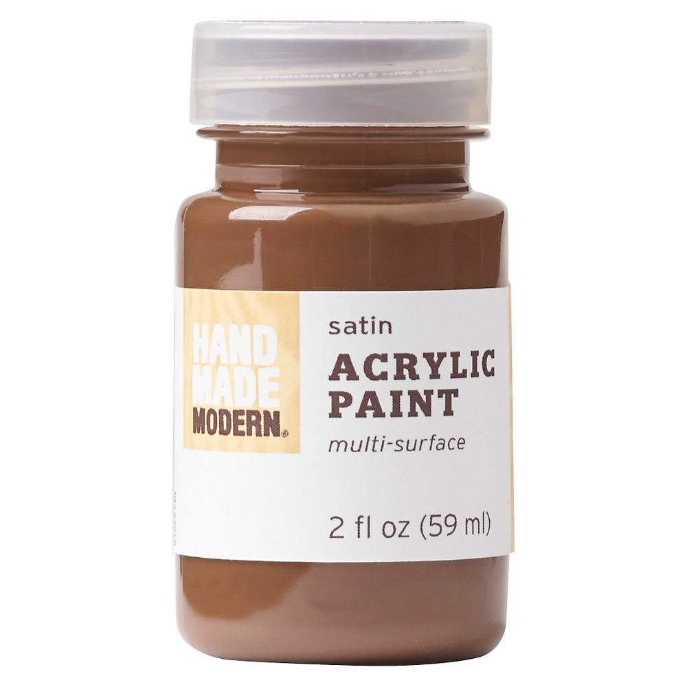 Image of 2oz Satin Acrylic Paint - Chocolate Hand Made Modern , Brown